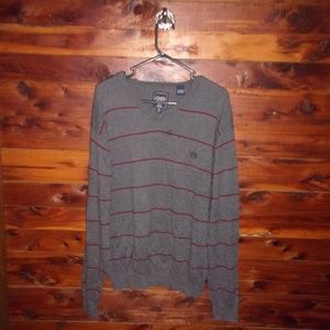 mens sweater gray burgundy stripe vneck